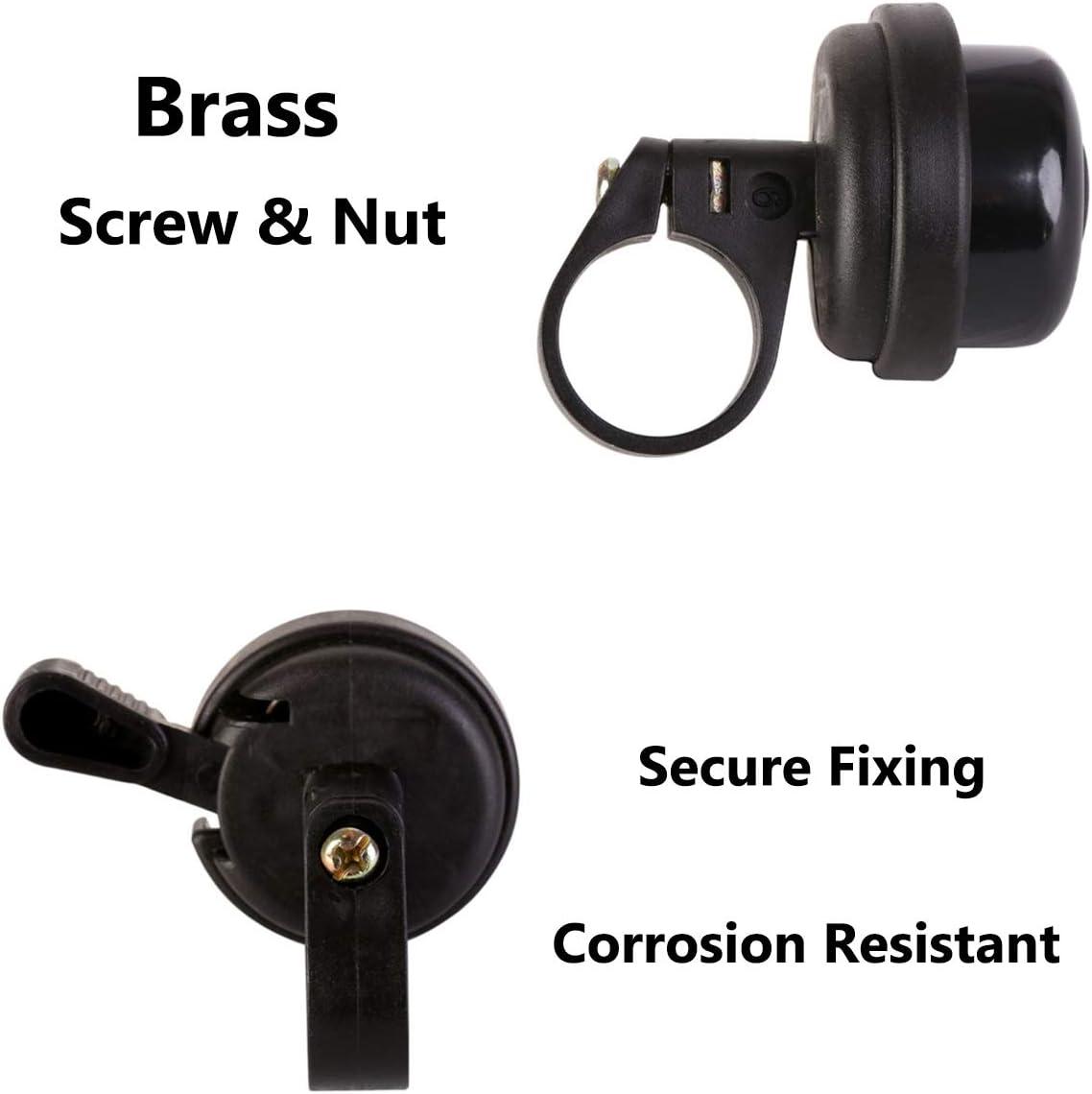 Bike Bell Brass Bicycle Bells Ring Loud Crisp Clear Sound Ringer Horn Accessories for Adults Men Women Kids Road Mountain City Sports Cruiser BMX School Bike