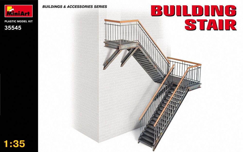 Grey Miniart 1:35 Scale Building Stairs Plastic Model Kit