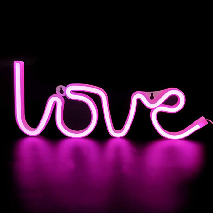 Blue TURNMEON Neon Lights Signs for Wall Decor Lightting Bolt Light USB or Battery Led Light up Signs for Bedroom Birthday Party Living Room Home Indoor Valentines Decoration