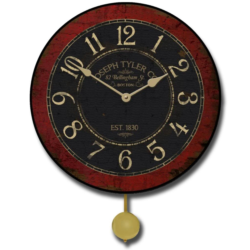 Bellingham Red Pendulum Wall Clock, Available in 5 Sizes, Whisper Quiet, Non-Ticking by The Big Clock Store