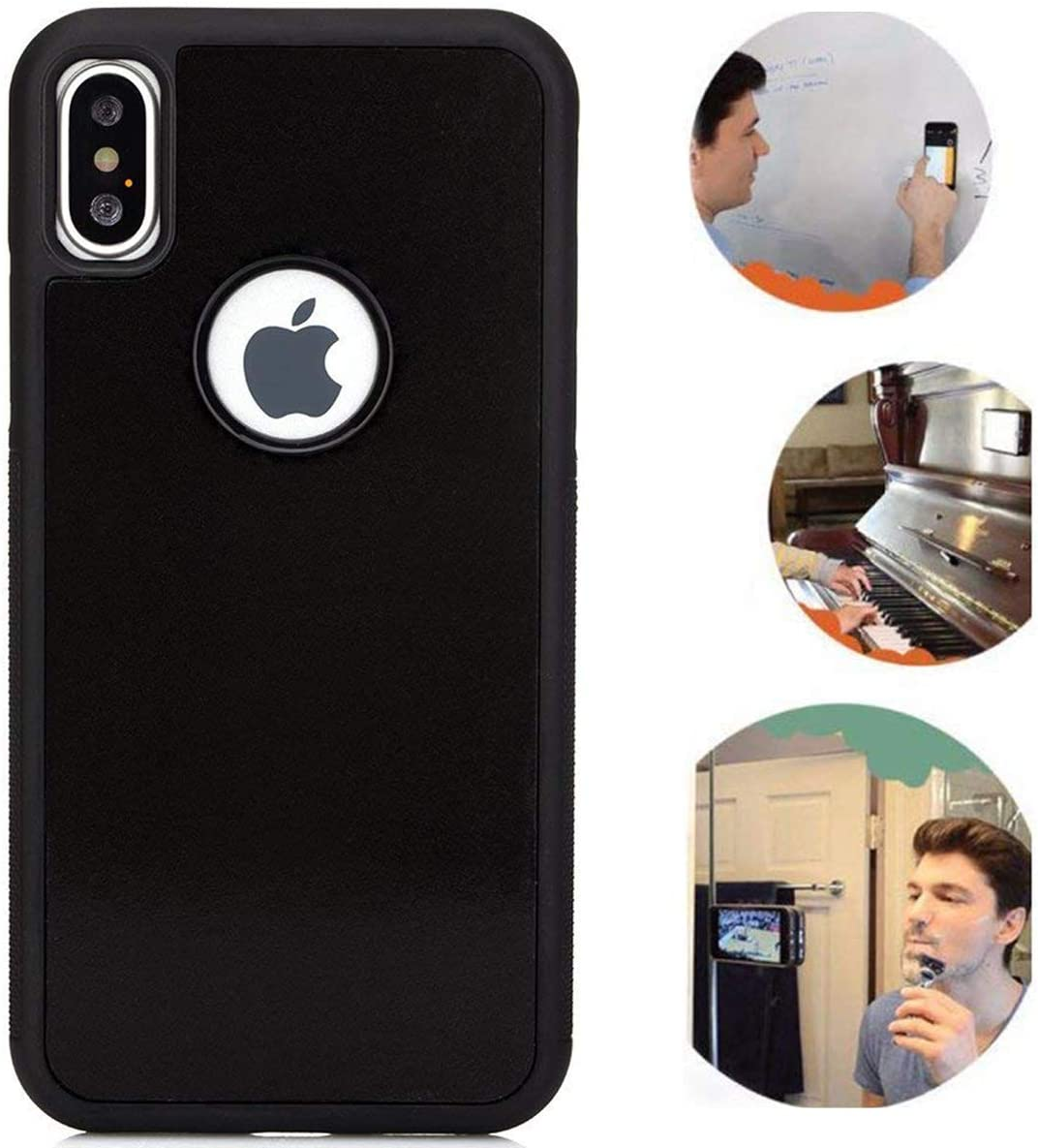 Anti Gravity Phone Case for iPhone X, iPhone Xs, Sticky Selfie Suction Black Anti Gravity Phone Case for iPhone X/Xs Magic Nano Stick on Smooth Flat Surface with Dust Proof Film