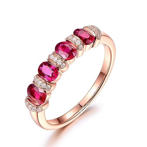 KnSam Joyas-Te Amo por Siempre&Anillo de Compromiso para Parejas Oro Puro Anillo de Diamante