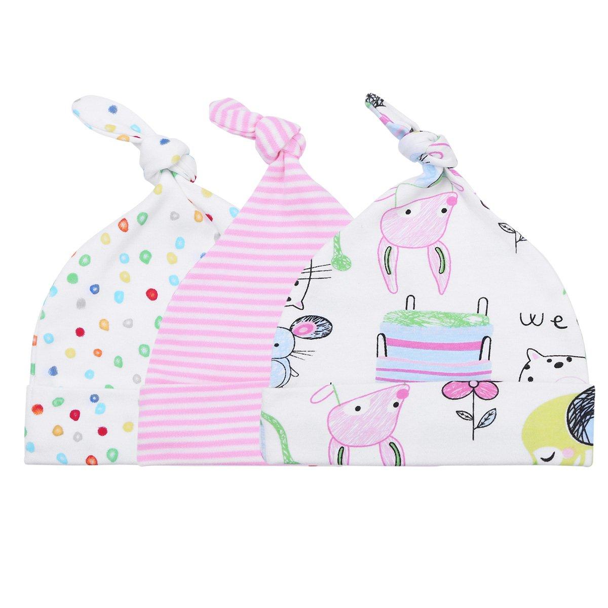 TiaoBug Unisex Newborn Infant Baby Boys Girls Hats Soft 100% Organic Cotton Beanie Hospital Caps T10054043-10053178-UK