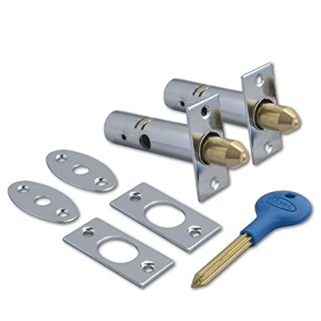Yale PM444 Door Security Rack Bolt Pack 2 Bolts /& 1 Key White