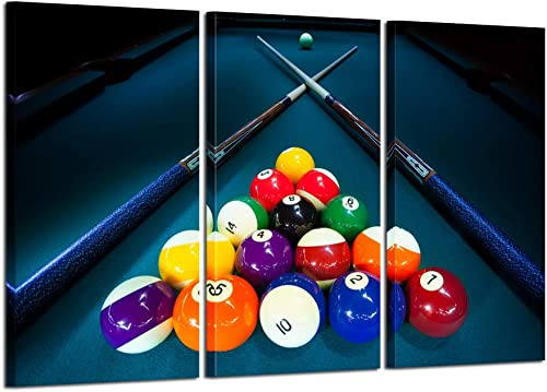 Kreative Arts Large 3 Pieces Canvas Prints Cool Billiards Ball Pool Snooker Printed Painting Canvas Wall Art Picture Home D cor