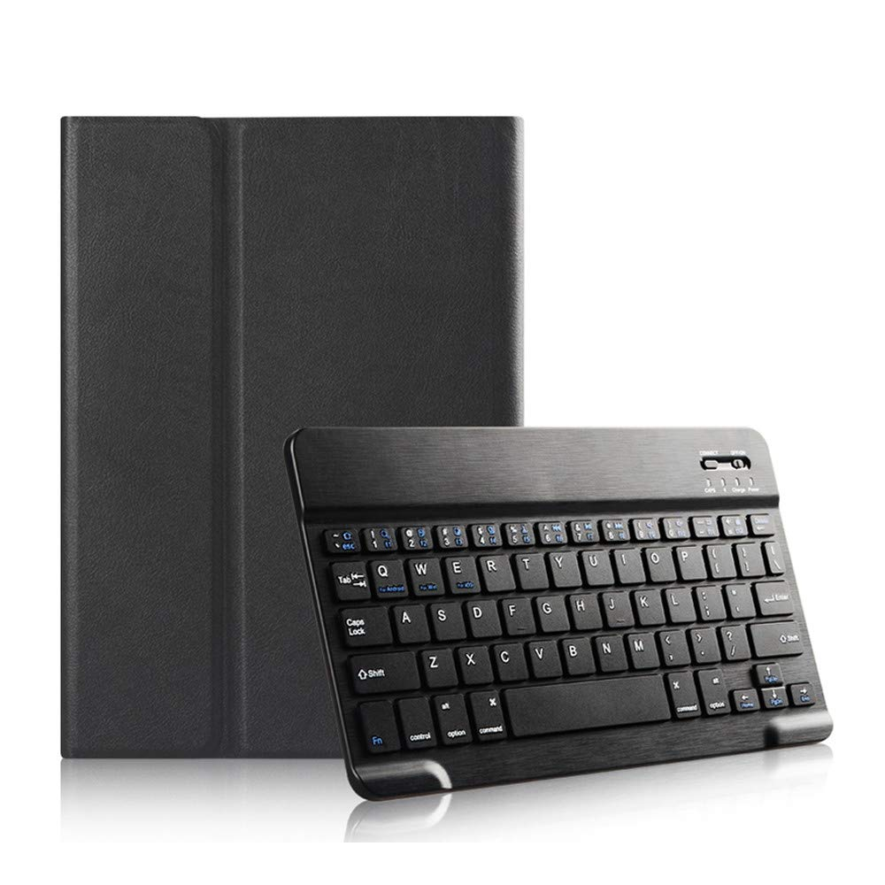 Weite Wireless Keyboard with Textured PU Leather Case for iPad Pro 11 Inches 2018 New - Detachable Bluetooth ABS Keyboard Cover with Free Charging Cable (Black)