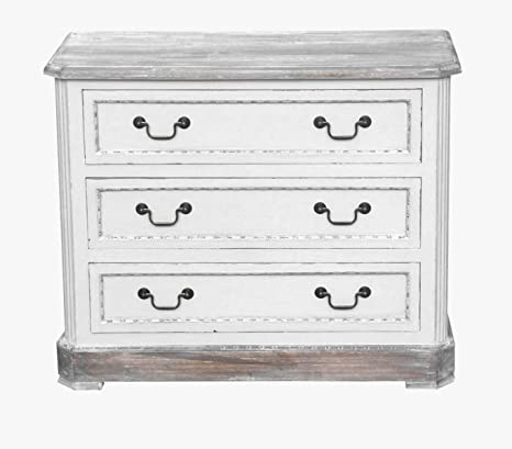 MAXIOCCASIONI Cassettiera Shabby Chic bianco 3 cassetti: Amazon.it ...