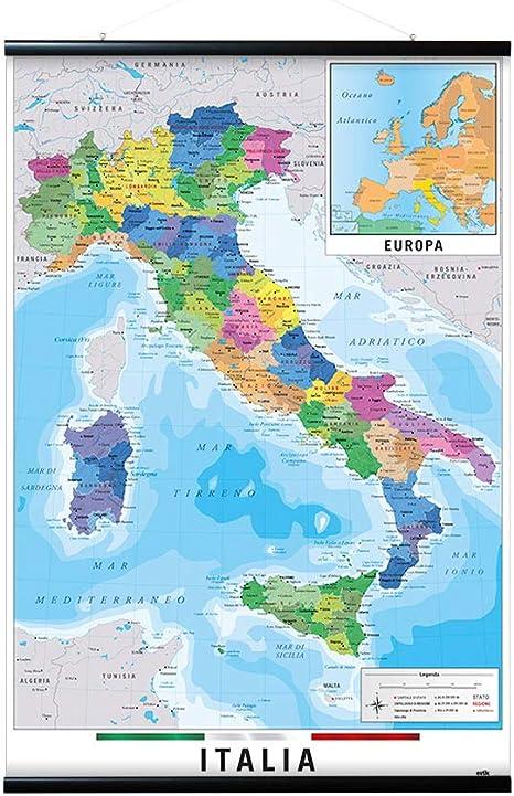 Grupo Erik Editores Poster Mapa Italia Fisico Politico: Amazon.es: Oficina y papelería