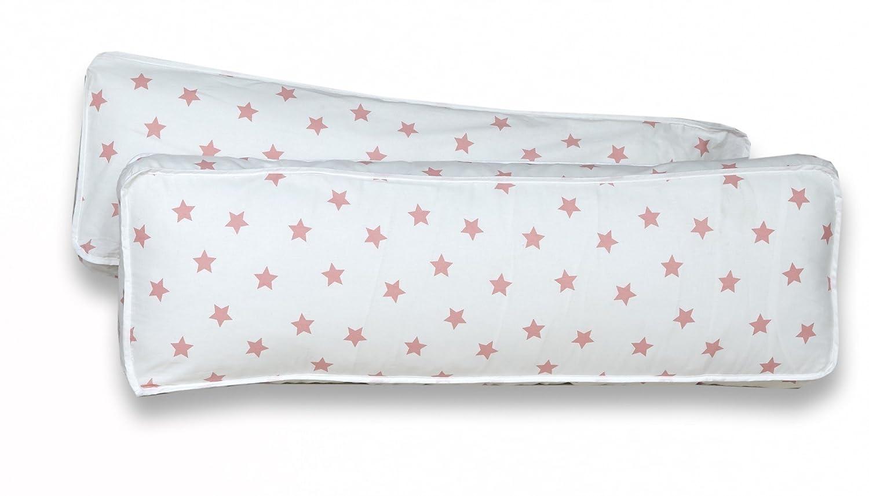 Rückenkissen-Set für Kinderzimmer mit Farbauswahl, Kissenfarbe Sterne Weiss Rosa