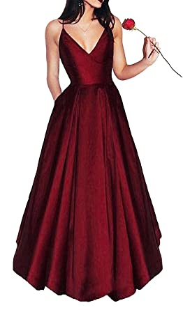 8934ae1c736 Little Star Women s Elegant Burgundy Prom Dresses 2018 Long Spaghetti  Straps Satin Evening Party Dress A