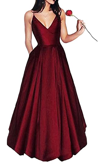 5be39057379 Little Star Women's Long Satin Prom Dresses 2019 V Neck Evening Gown A Line