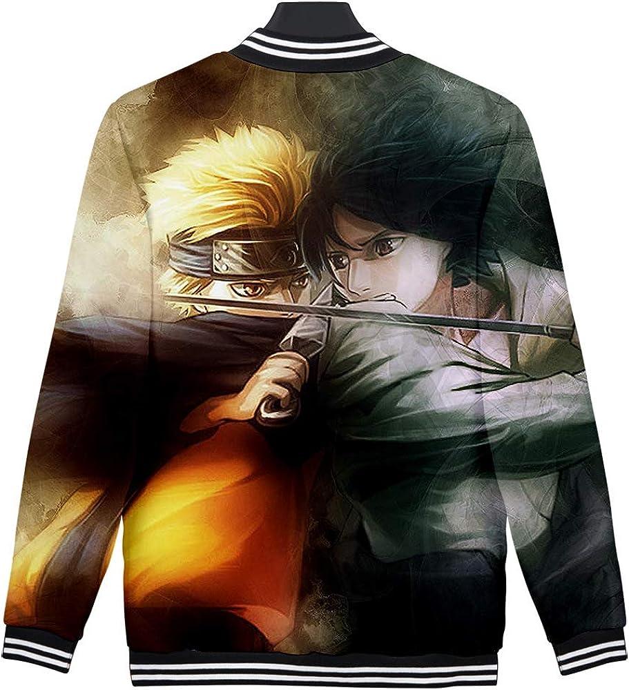 MLX-BUMU Beiläufiges Japanisches Anime Naruto, Das Das Lose Art Und Weisebaseball-Uniform-Sweatshirt des Digitaldrucks 3D Umgibt B