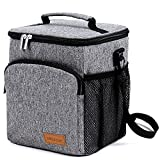 Insulated Lunch Box: WELLuse Adult Lunch Bag For Work office, Men, Women Thermal Cooler Tote for School Kids Teens Boys Girls With Adjustable Strap, Front Pocket and Side Pocket Grey [Unisex]