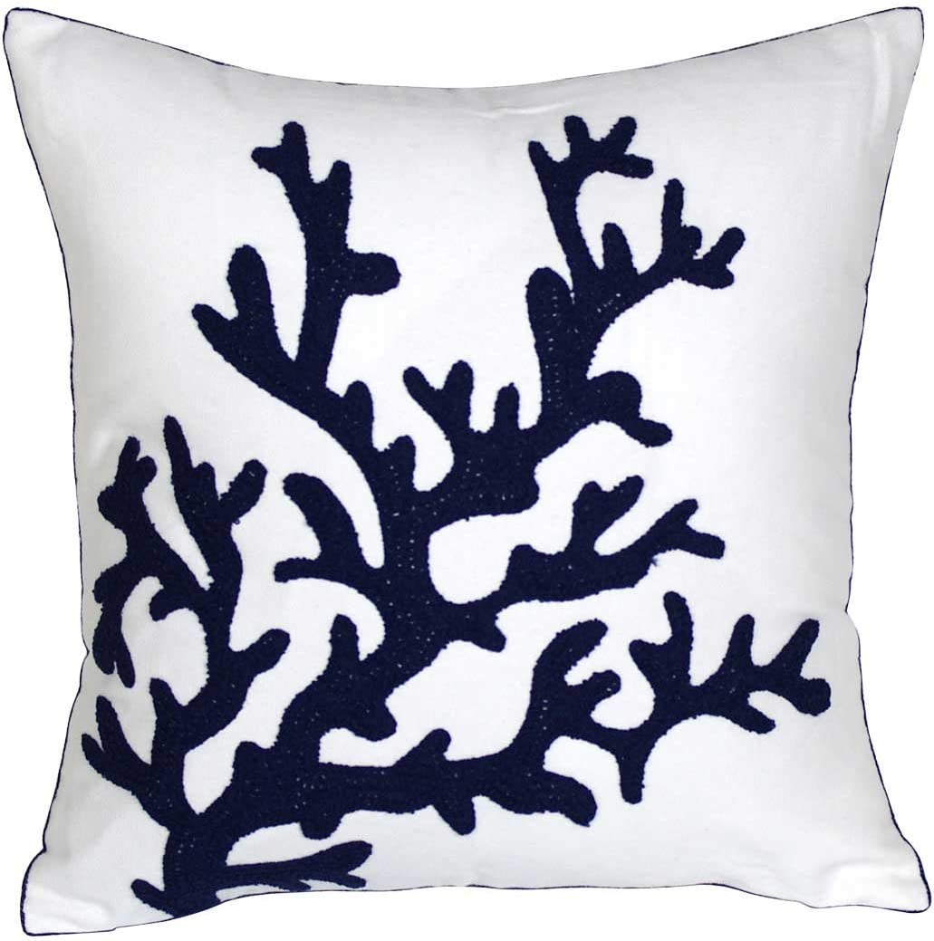DECOPOW Embroidered Nautical Decor Pillow Covers,Square 18 Inches Decorative Canvas Pillow Cover for Nautical Style Deco by (Navy-Coral)