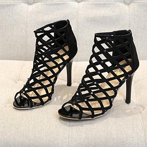 Altos Chunky Para Peep Lmmvp Mujer Moda Sandalias Tacn Alto Romanas De Tobillo Toe Tacones Correa Negro Gladiador Zapatos Rivet qwnaBgW4