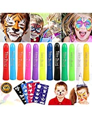 Buluri Face Paint, 12 Face painting Crayons No-Toxic Children Crayon Paint for Carnival, Easter, Cosplay, Theme Parties (Face Paint 12 colors)