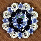 SET OF 2 BLUE BLACK CRYSTAL 1-14in BERRY CONCHO RHINESTONE TACK SADDLE