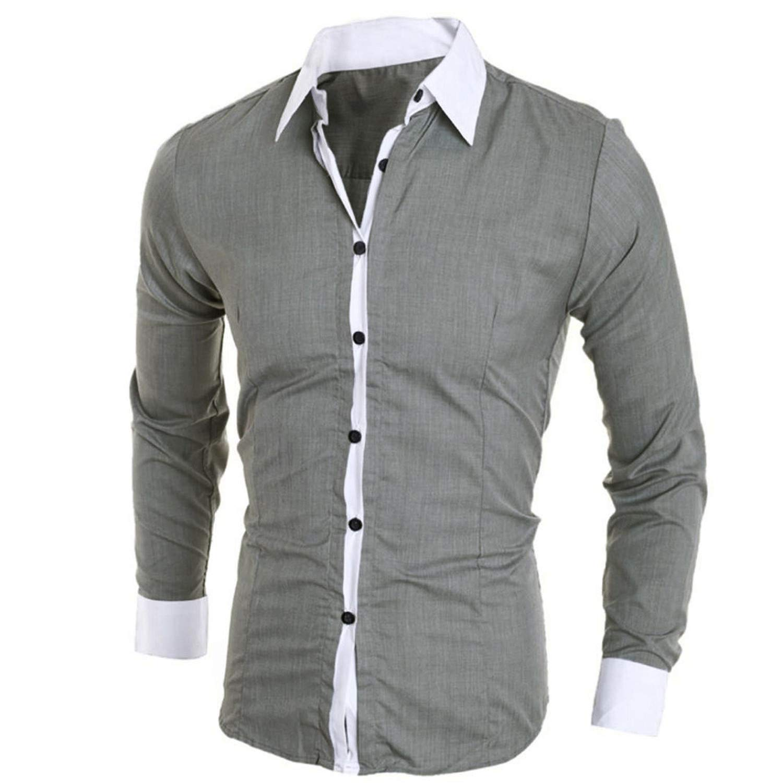 EspTmall Men Spring Autumn Shirts Long Sleeve Fashion Personality Mens Casual Solid Slim Shirt Pink XXL United States