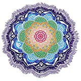 Sunroyal Beach Towel,Yoga Mat,Beach Trip Tapestry Mandala Picnic Tablecloth Bohemian Style Yoga Mat with Large Round Tassels Tapestry,Hippy Style Hippie Throw Bedding,Wall Hanging 59 inch Round