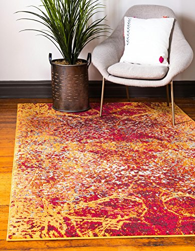 Unique Loom Estrella Collection Vibrant Abstract Red Area Rug (5