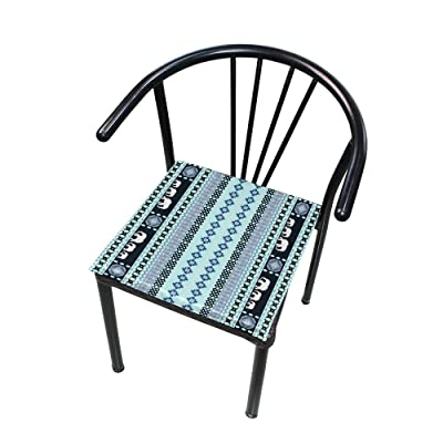 "Bardic HNTGHX Outdoor/Indoor Chair Cushion Tribal Geometric Stripe Square Memory Foam Seat Pads Cushion for Patio Dining, 16"" x 16"": Home & Kitchen"