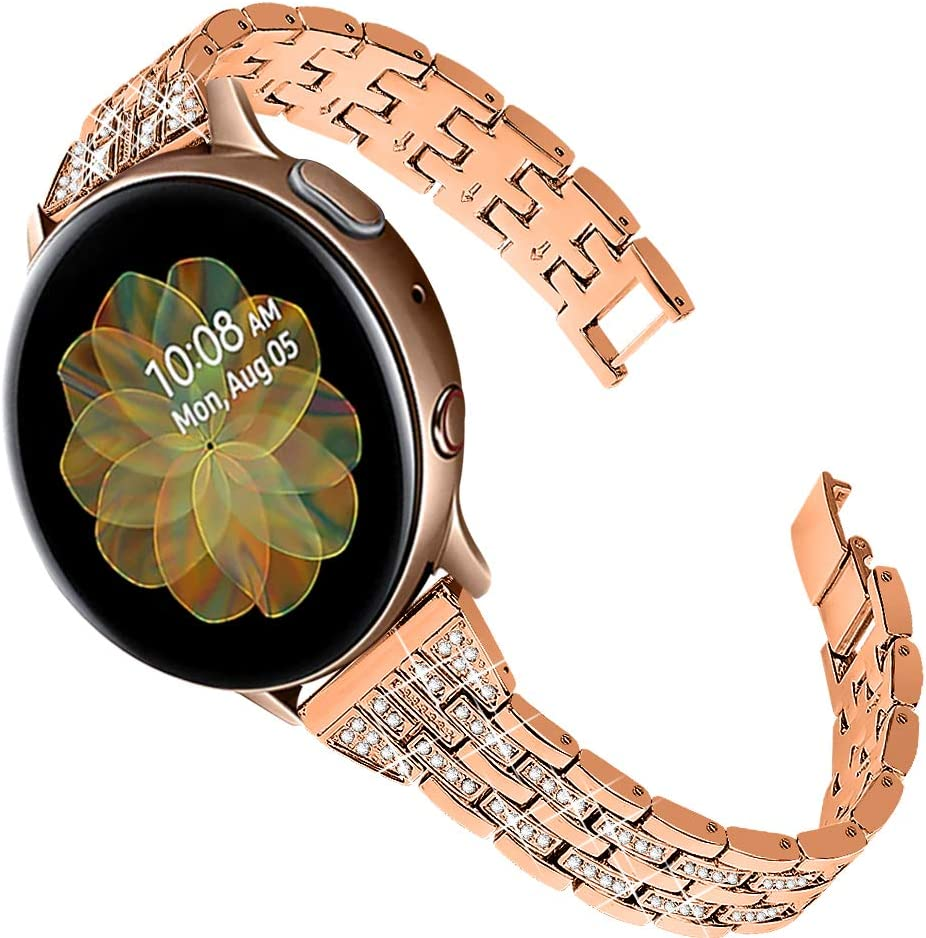 Joyozy Women Girls Stylish Bands Compatible with Galaxy Watch Active(40mm)/2(40mm)(44mm)/Galaxy Watch 42mm/Garmin vivoactive 3/3 music/Garmin Forerunner 245/645 Music, 20mm Quick Release Strap Rhinestones Bracelet for Samsung Gear S4/Gear S2 Classic SM-R7