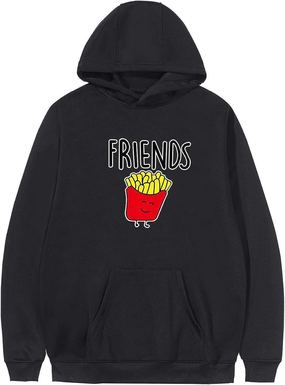 KPOP Best Friends BFF Hoodies Burger & Fries Junk-Food Matching Couple Hoodie Pullover Sweatshirt