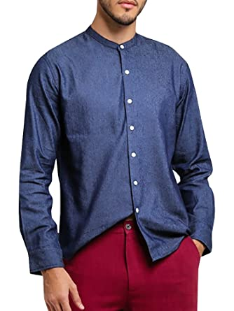 Stand Collar Shirts Designs : Bbalizko mens button down shirts long sleeve casual stand collar