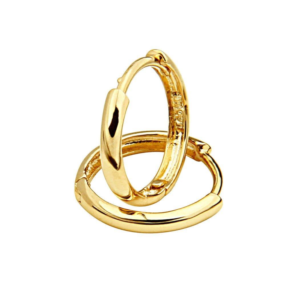 14k Yellow Gold 2mm Thickness Hoop Huggie Earrings (13 x 13 mm)