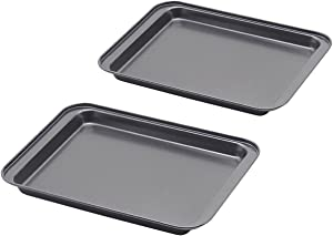 Baking Sheet Set of 2, SS&CC Profession 8 Inch Nonstick Sheet Pan Set, Dishwasher Safe, Organic Environmental Friendly Premium Coating, Carbon Steel Half Toaster Oven Pan Tray Replacement