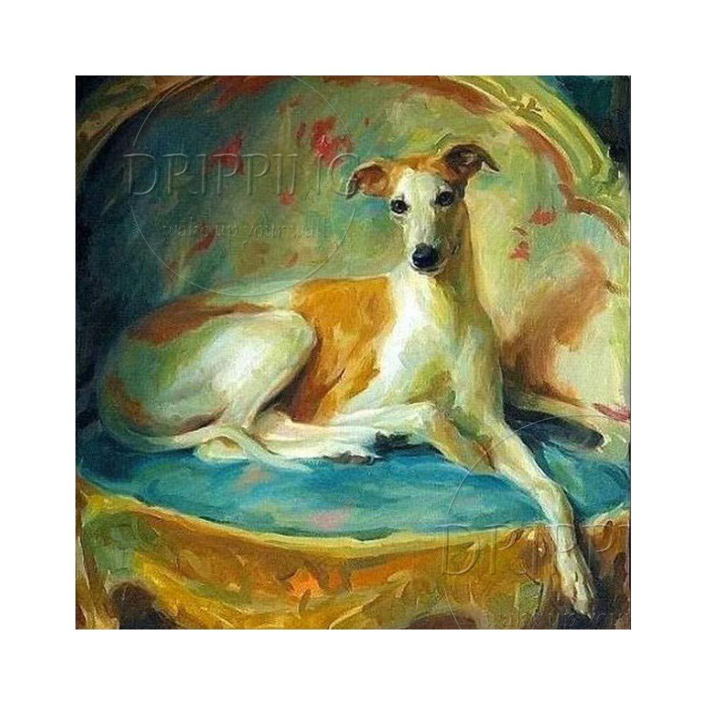 YDDFSGGFDSG handgemaltes hochwertiges Windhund-Ölgemälde auf Leinwand schöner Hund Bild Windhund Malerei für Wohnzimmer