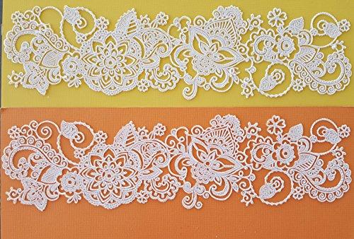 2 PC White Vanilla Edible Lace - Wedding Hannah Henna Tatoo Edible Cake Lace- Ready to Use