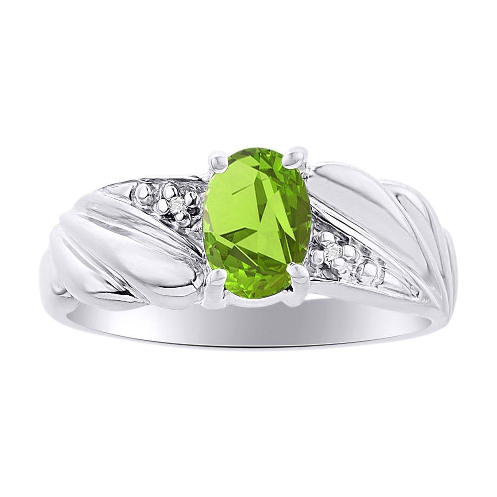 Diamond /& Peridot Ring Set In Sterling Silver Color Stone Birthstone