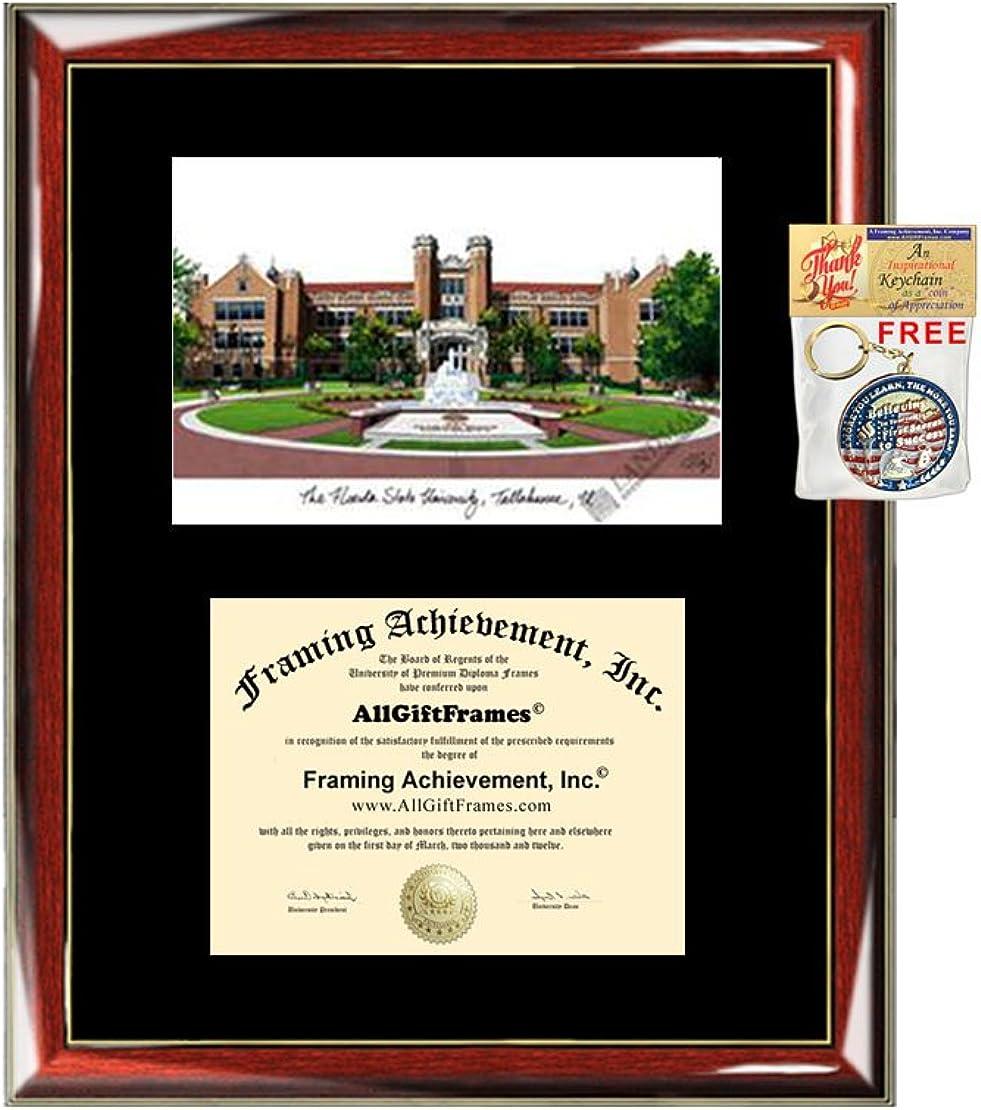 Amazon Com Florida State University Fsu Diploma Frame Lithograph Premium Wood Glossy Prestige Mahogany With Gold Accents Single Black Mat University Diploma Frame Sports Outdoors