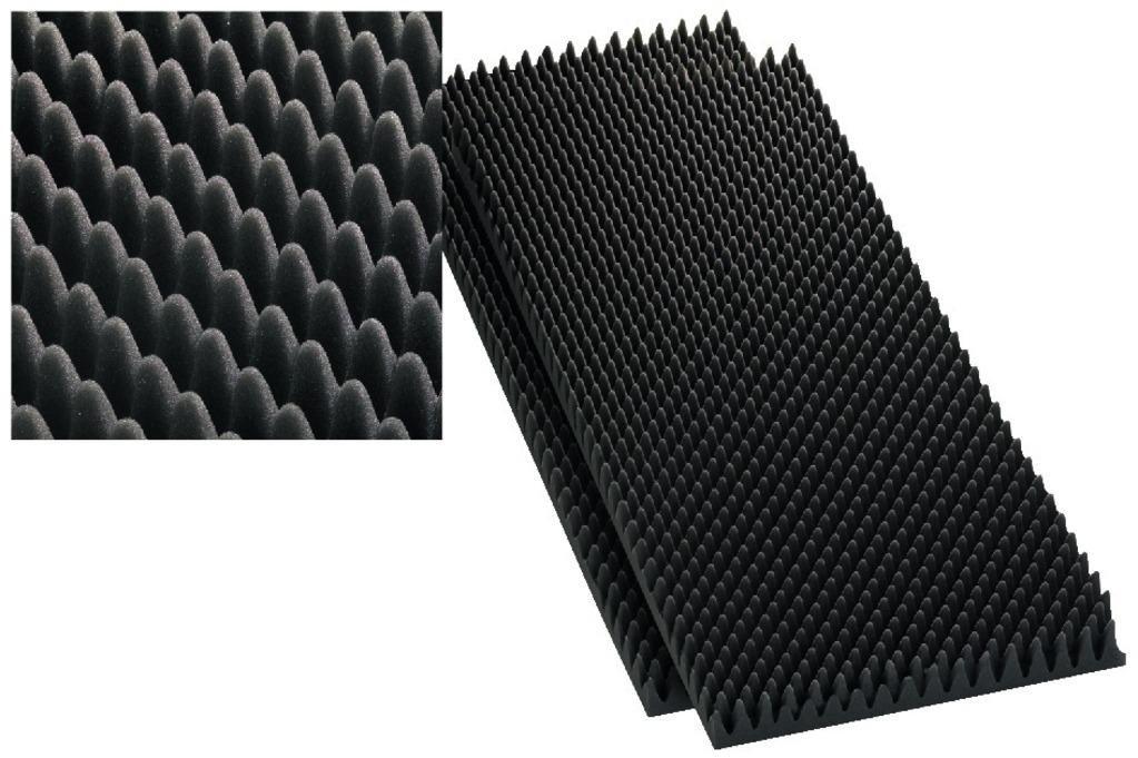 Monacor 12.2230 - Espuma para altavoz (en cuña y en relieve, 60 mm, 2 unidades), color gris