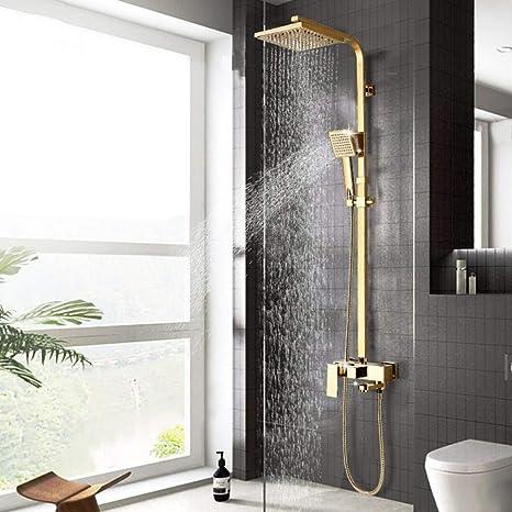 Luxury Wall Mount Polished Gold Bathroom Rain Shower Head Tap Mixer Faucet Set