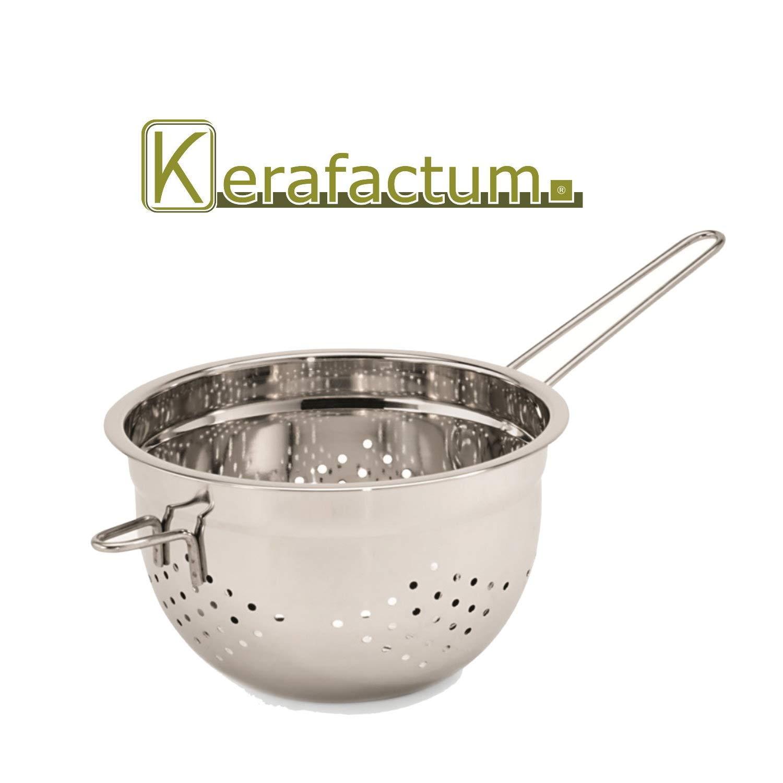 Kerafactum colador para ensaladas colador para Sopa colador con Base Plana y Mango de 20 cm de di/ámetro y 1 Soporte para ollas colador para Pasta Colador de pie Profesional de Acero Inoxidable