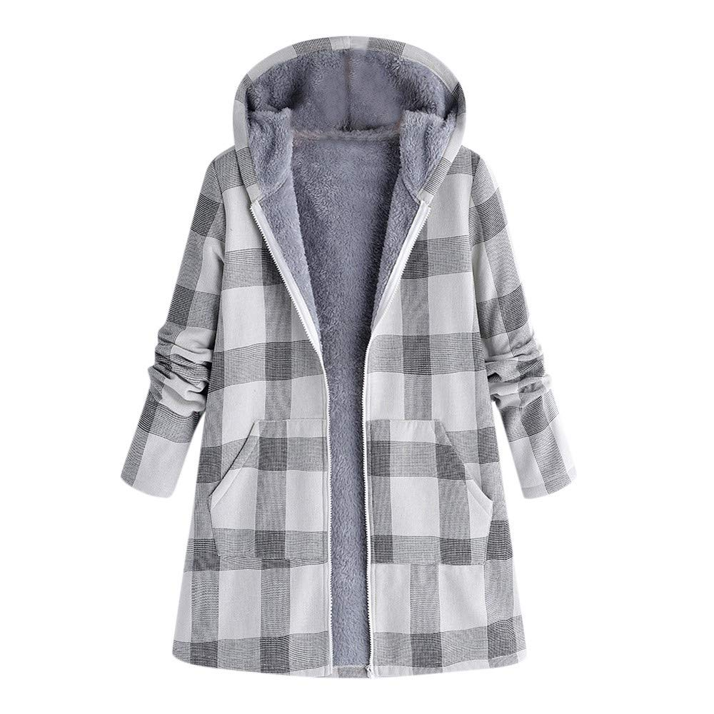 Women Winter Jacket Long, Women Warm Outwear Button Plaid Print Vintage Coat CieKen
