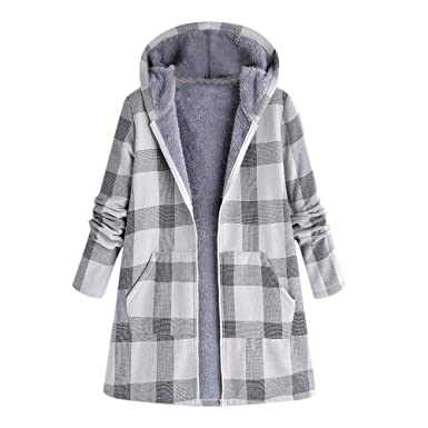 Inverlee Women Winter Warm Outwear Button Plaid Print Pocket Vintage Oversize Coat GY/S