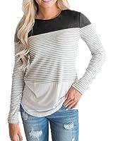Goddessvan Women Long Sleeve Striped Patchwork Stretchy Tops Blouse T-Shirt