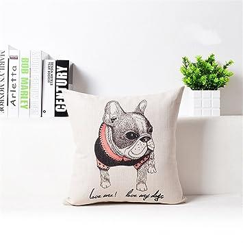 Amazon.com: anteojos gato Bulldog Fox Cintura Cojín de lino ...