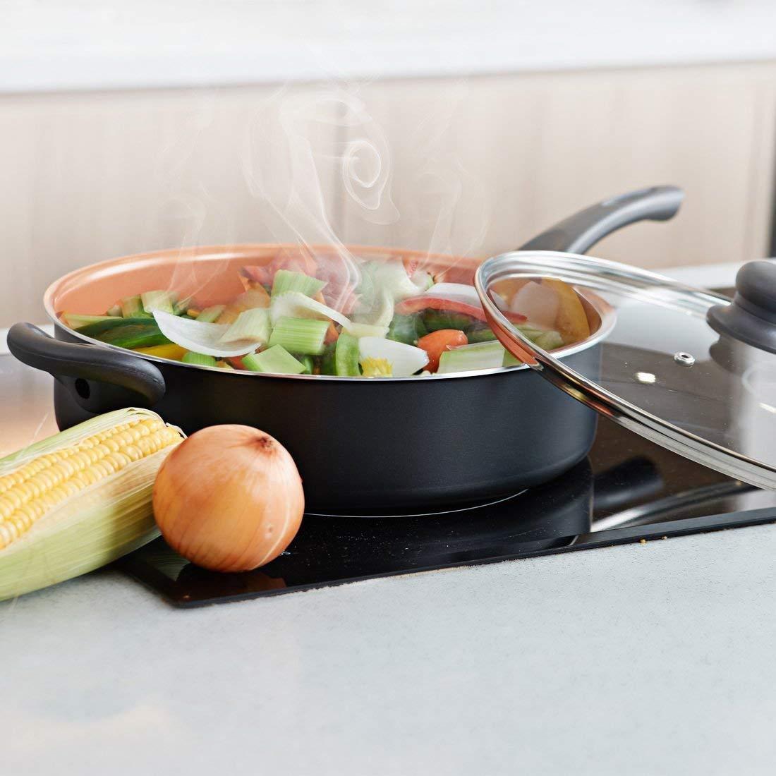 Copper MICHELANGELO Nonstick 5 Quart Saute Pan with Lid