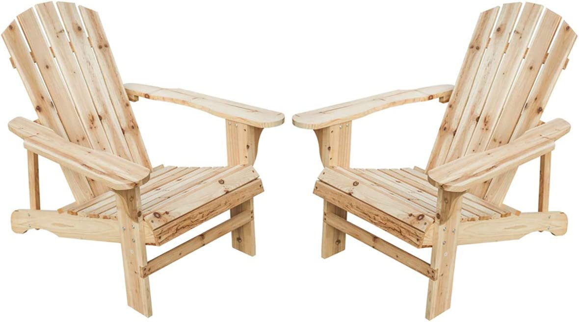 PatioFestival Wood Adirondack Chair Lounger Chair Outdoor Furniture for Yard,Patio,Garden Natural Finish,Set of 2