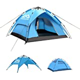Mosodo Pop up Tent for 4, Double-Layer Design Allows 2 Tents be Used Separately, Featured UV Protection, Waterproof, Windproof, Adjustable Bugs Nets, Fit in Beach, Mountain, Backyard, Grass & Forest