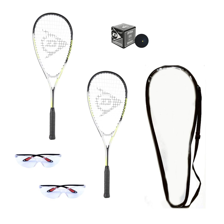 Dunlop Hyper Lite Ti Squash Racquet Set Includes 2 Racquets 2 Eyeguards 1 Ball Cover