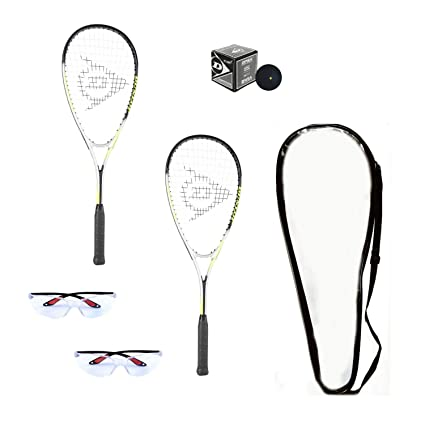 Amazon.com : Dunlop Hyper Lite Ti Squash Racquet Set (Includes 2 Racquets, 2 Eyeguards, 1 Ball, Cover) : Sports & Outdoors