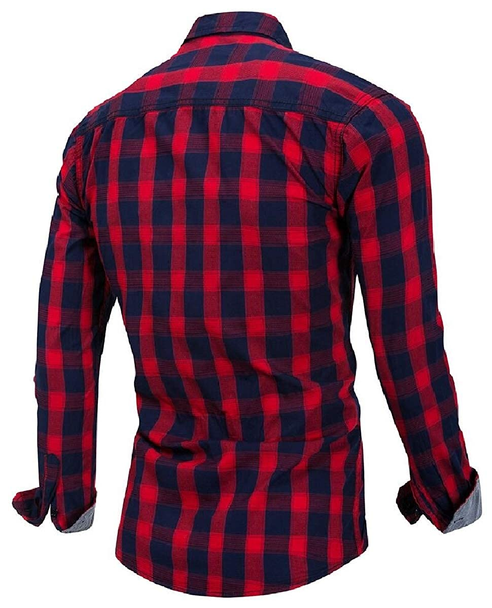 ZXFHZS Mens Long Sleeve Flannel Plaid Shirt Button Down Shirts
