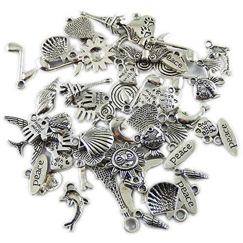 GraceAngie 200 Piece Silver Pewter Charms Pendants Mega Mix DIY for Jewelry Making and Crafting AM0111