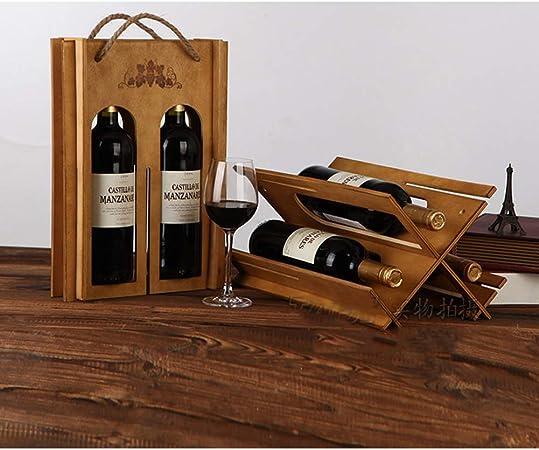 ALXDR Caja De Vino De Madera Botella Doble Y Estante De Vino 2 En 1 con Asa, Caja De Vino Desmontada Y Ensamblada,Marrón: Amazon.es: Hogar