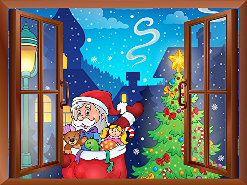 Cartoon Santa Claus Carrying Gifts Peel and Stick Removable Window View Wall Sticker Wall Mural